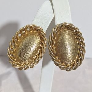 Chunky Vintage Textured Gold Clip Earrings